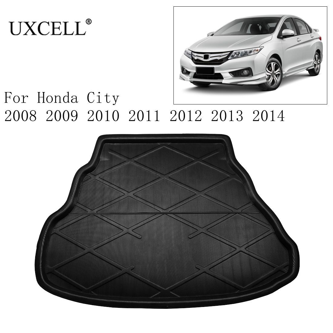 Uxcell PE+EVA Foam Plastic Black Car Rear Trunk Floor Mat Cargo Boot Liner Carpet Tray For Honda City 2008-2018 Car Trunk Mat