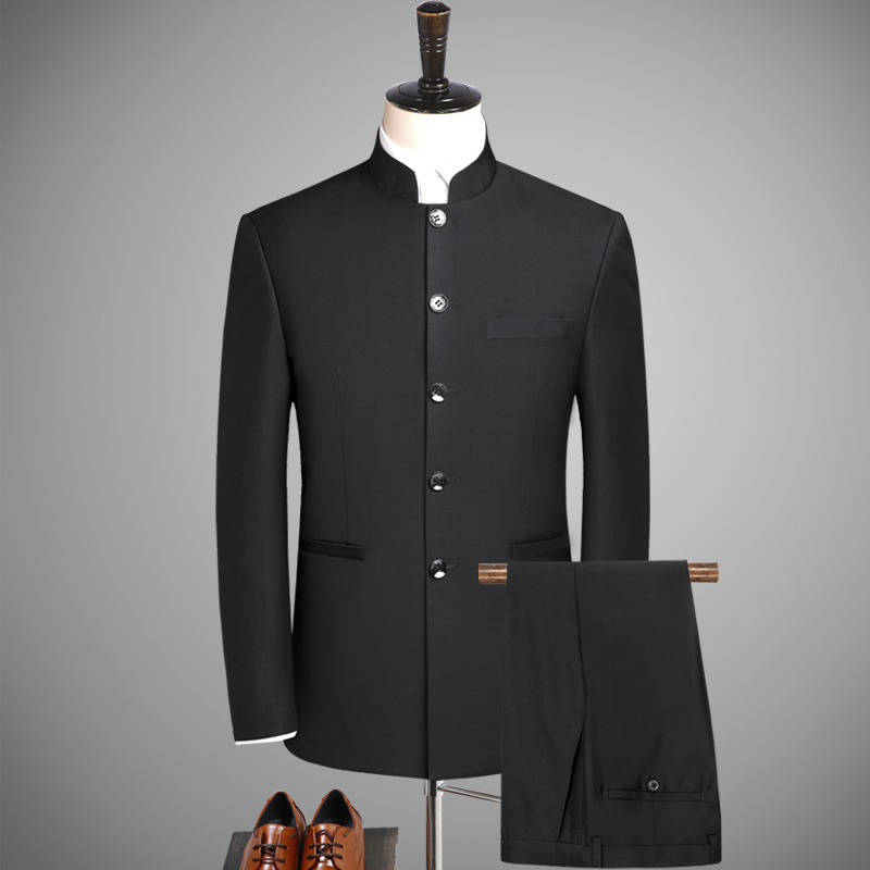 (blazer+ Pants) Chinese Style Tunic Suit 2 Sets Of High-end Custom Black Suit XL S-5XL Stand Collar Suits Men Business Gentleman