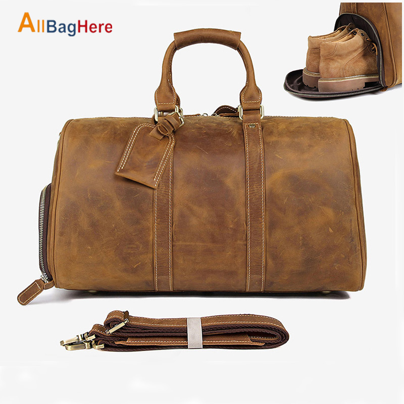 Genuine Leather Travel Bag Men Vintage Gym High Quality Fitness Duffel Bag Cow Leather Carry Luggage Large Capacity Shoulder Bag