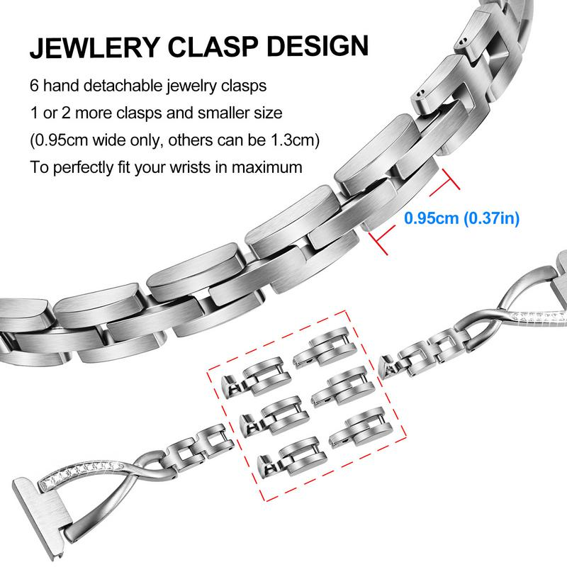 Image 4 - Solid Stainless Steel + Crystal Diamond Watchband for Samsung Galaxy Watch Active 2 40mm 44mm Band Active2 Women Strap WristbandWatchbands   -