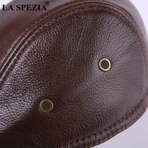 Image 3 - LA SPEZIA Classic Beret Caps Men Warm Genuine Leather Caps Ivy Windproof Duckbill Hat Burgundy Winter Luxury Brand Flat Hats