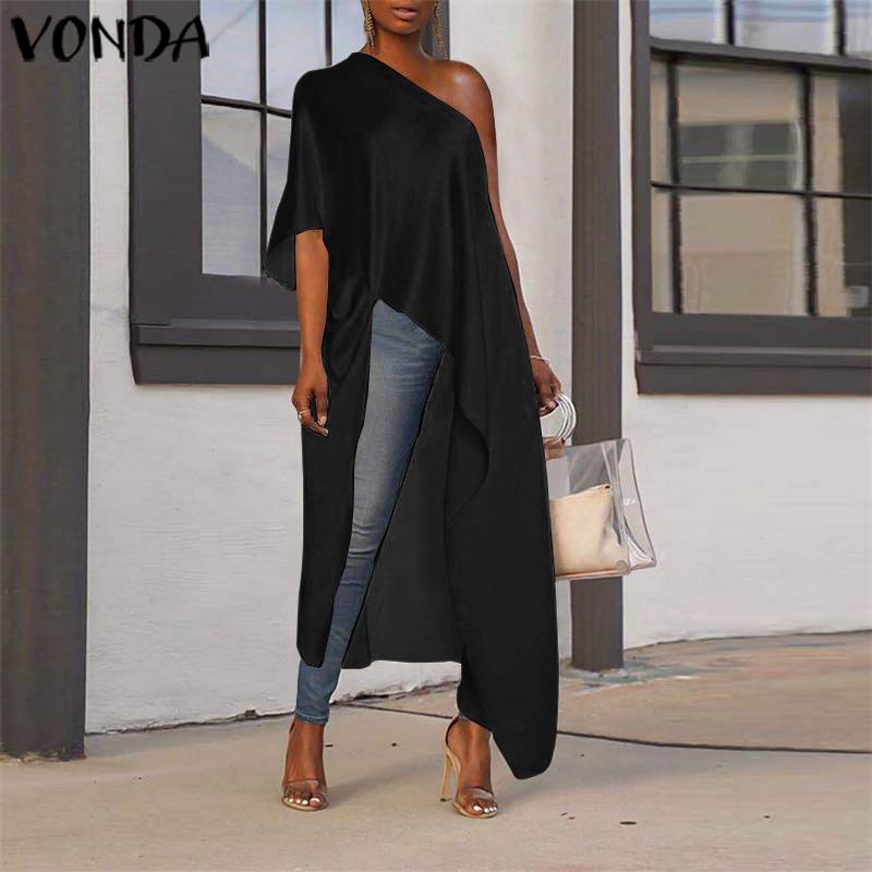 Women's VONDA 2021 Fashion Off One Shoulder Long Blouse Summer Autumn Shirts Irregular Sexy Tops Blusas Femininas Oversized