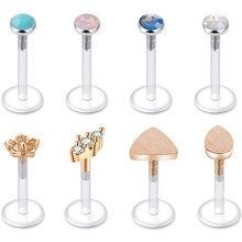 Forward Helix Earring Surgical Steel Bioflex Tragus Cartilage Lip Rings 16G 8mm Zircon Labret Stud Barbell Piercing Jewelry