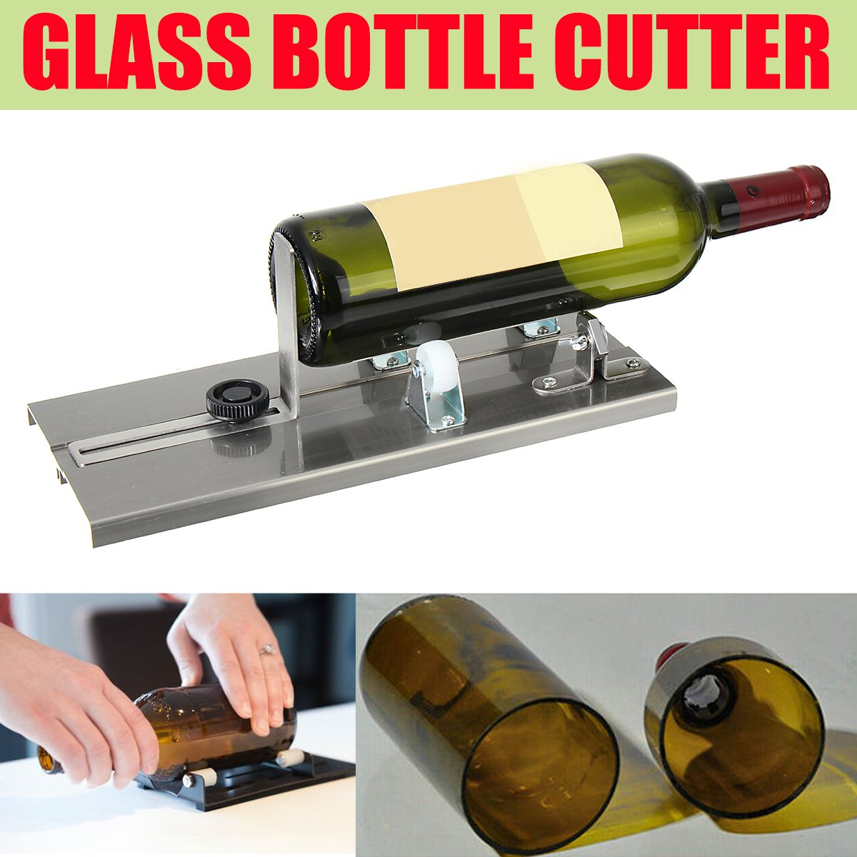 Glass Bottle Cutter Machine Beer Wine Jar Recycle Craft DIY Cutting Tool Kit Aluminum Alloy Construction Tools Glass Sculptures