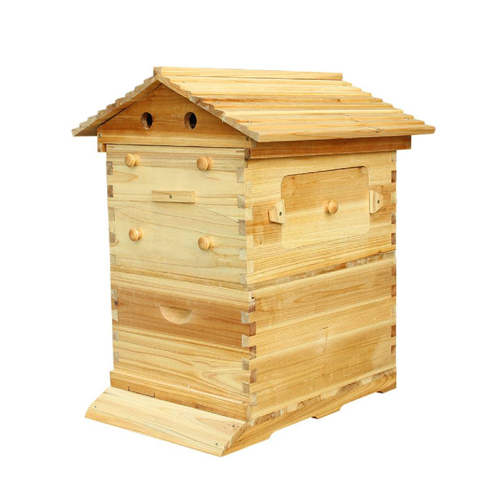3-Box Beekeeping Wooden House+7PCS Hive Flowing Auto Honey Beehive Frames