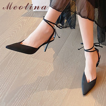 Meotina  Sandals Women Cross Strap High Heel Shoes Pointed Toe Stiletto Heels Dress Ladies Sandals Summer Black Large Size 43 luxury brand women shoes clear diamante stiletto heels peep toe high heels sandals summer party dress shoes cross strap sandals