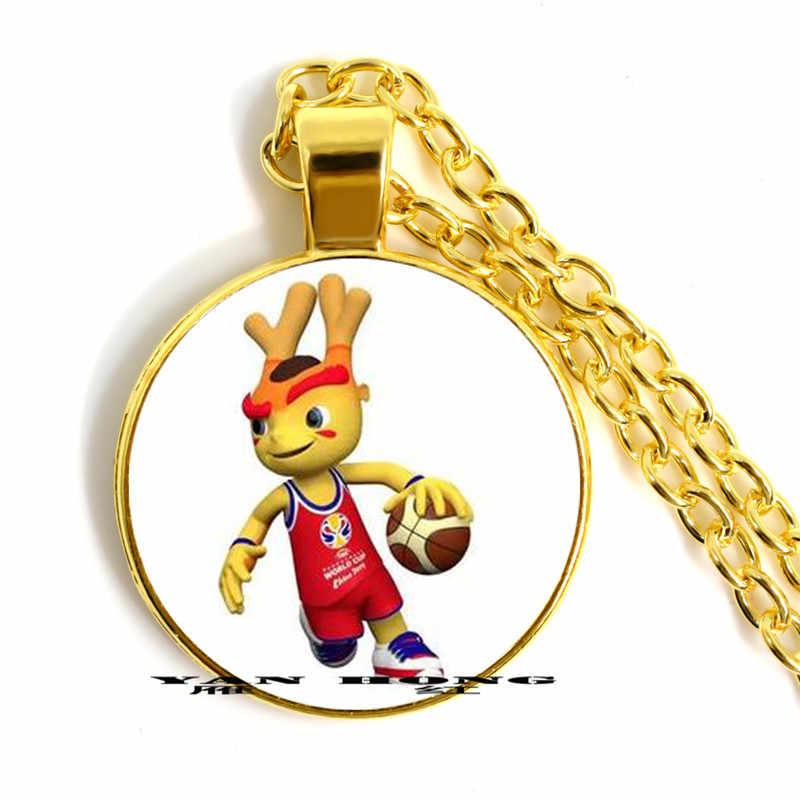 """El collar colgante de cristal de 25mm hecho por la mascota """"hijo de sueño"""" del baloncesto de FIBA de 2019 la Copa del Mundo es un regalo de recuerdo para f"""