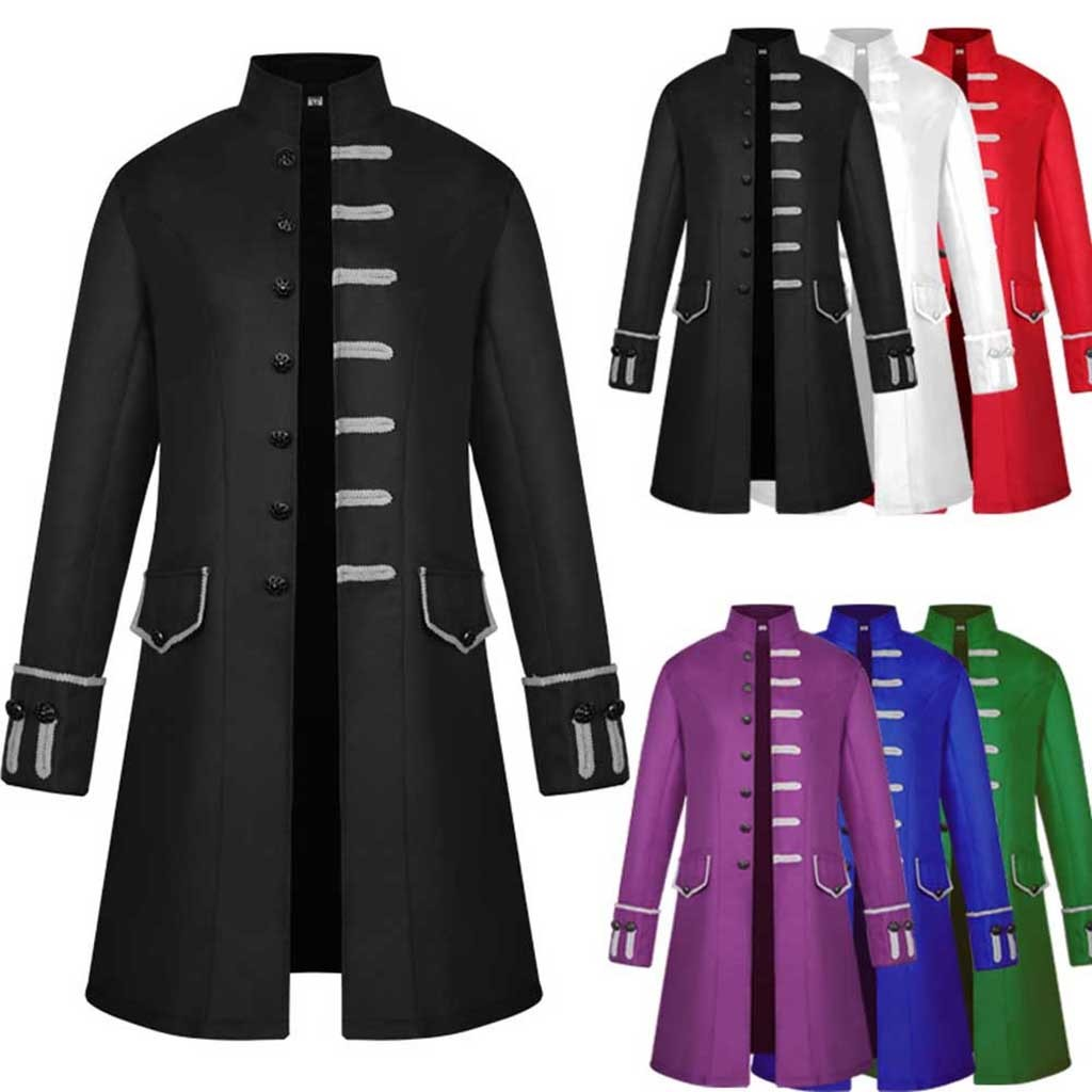 Men Trench Coat Steampunk Jacket Medieval Costume Men Long Sleeve Gothic Brocade Jacket Frock Vintage Stand Men Trench Coat Steampunk Jacket Medieval Costume Men Long Sleeve Gothic Brocade Jacket Frock Vintage Stand Collar Men's Coat