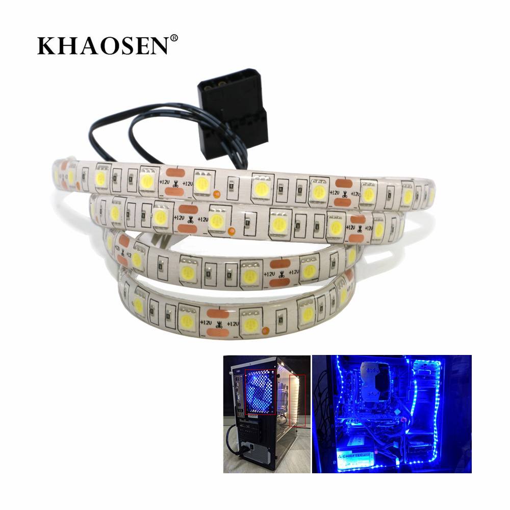 PC Case Led Lights SATA Power Supply For Computer Case 5050 SMD Flexible LED Strip 12V DC Background PC RGB LED Strip Light