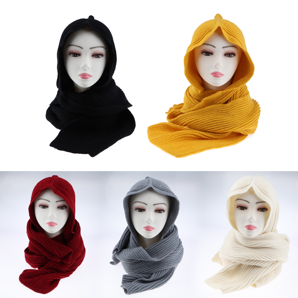 Women Hooded Scarf Acrylic Wool Knit Soft Warm Winter Cosy Wrap Neck Ear Warmer  Muslim Hijabs Scarves 240cm*22cm