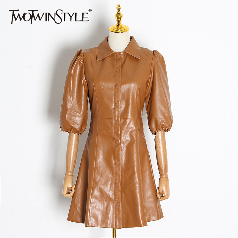 TWOTWINSTYLE Casual PU Leather Dress For Women Lapel Collar Puff Sleeve High Waist Mini Dresses Female 2020 Fashion Clothing New