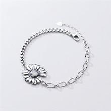 Sole Memory-pulsera de plata de ley 925 con crisantemo, pulseras ajustables femeninas