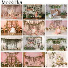 Spring Floral Cake Smash Photography Backdrops Newborn Children Photo Backgrounds 1st Birthday Flowers Photographic Studio Props