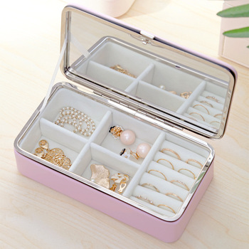 Exquisite Mirrored Jewelry Box Women Leather Packaging