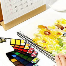 Watercolor-Paint-Set Water-Brush Students-Supplies Superior Pigment Solid with Pen Foldable