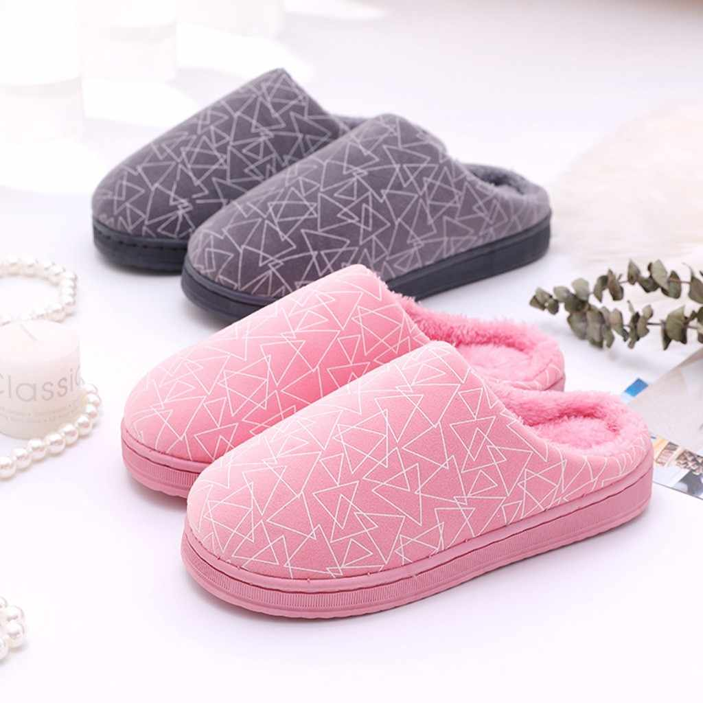 Fashion Warm Geometric Flock Women slipper Warm Non-slip Floor Home Slippers Indoor Shoes woman slipper chaussures femme Drop