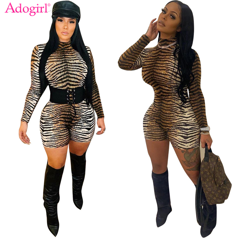 Adogirl Tiger Stripe Print Women Sexy Playsuit 2020 Spring High Neck Long Sleeve Shorts Jumpsuit Night Club Skinny Romper Overal