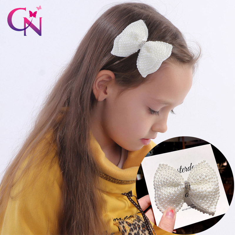 White Pearl Hair Bows With Hair Clips For Girls Kids Boutique Layers Bling Bows