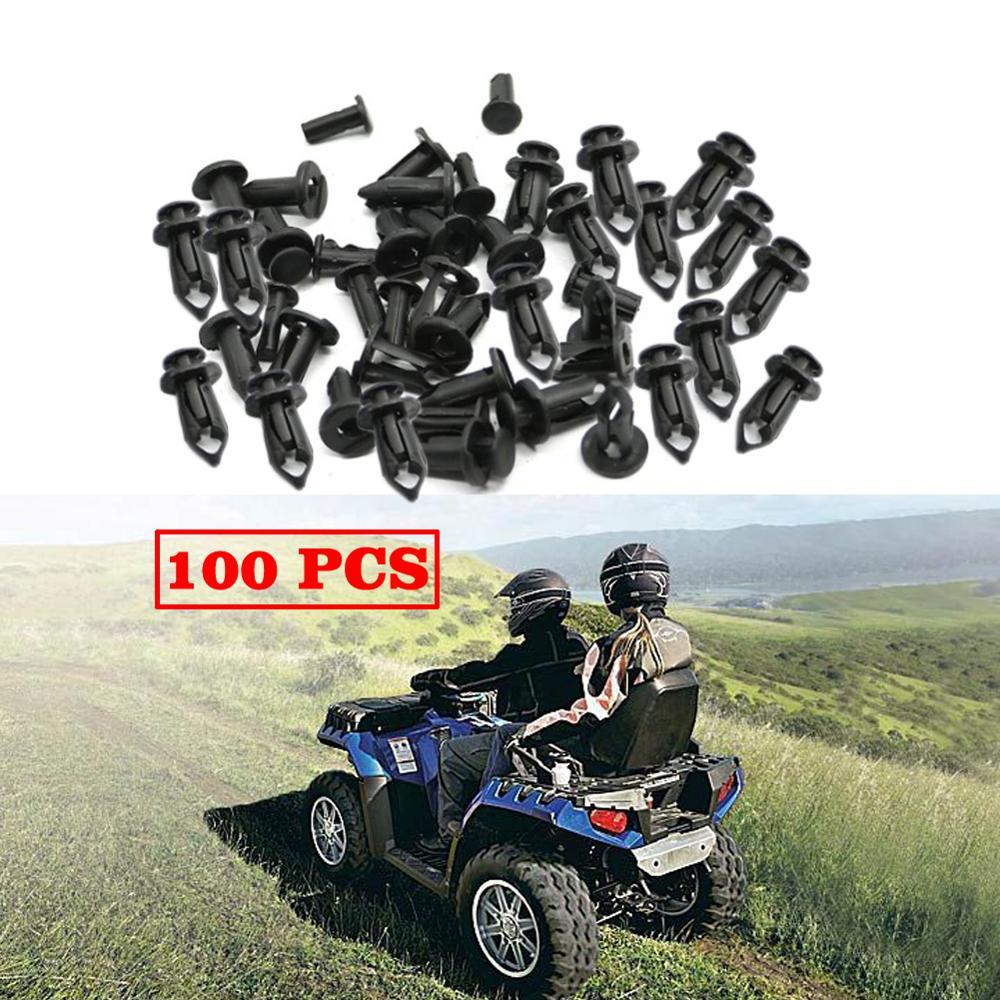 100x ATV UTV SSV 8mm Rivet Fairing Body Trim Panel Fastener Screw Clips Plug Kit