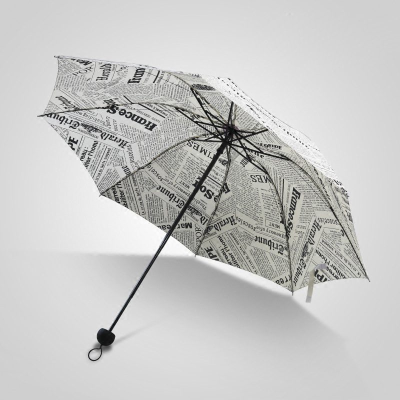 Vintage Newspaper All-Weather Umbrella Dual Purpose Three Folding BOY'S Students Discount Fashion And Personality Taobao Hot Sal