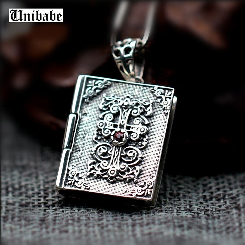925 Sterling Silver Bible Cross Pendant Classical Vintage Religious Saint Soul Jewelry (HY)
