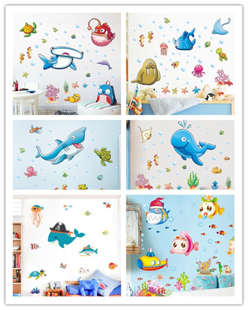 Chambre Pirate Maison Du Monde €3.93 38% de réduction % dessin animé monde sous marin pirate poisson  requin baleine stickers muraux enfants chambre maternelle aquarium fond
