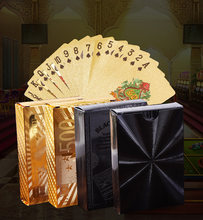 Cartão de jogo à prova dwaterproof água tirano ouro pvc plástico cartão de jogo folha de ouro baralho de cartões de poker jogo de tabuleiro jogos de viagem