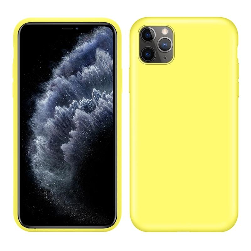 Soft Liquid Silicone Case For IPhone 11 Pro Max XS XR X 6 S 6S Case For IPhone 11 Pro Max XR XS MAX X Yellow 11 Pro Cover Coque