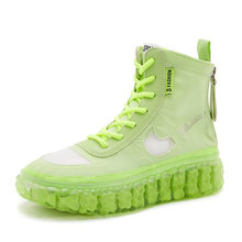 Sommer Party frauen Sneakers Bunte Ankle Reife Stiefel Frau Schuhe Fluoreszierende Sexy Runde Kappe Flache (≤ 1cm) spitze-up(China)