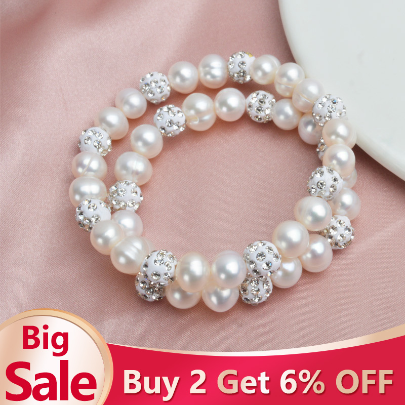ASHIQI Genuine Natural Freshwater Pearl Bracelets Bangles For Women with White Clay Zircon Ball Elasticity Jewelry