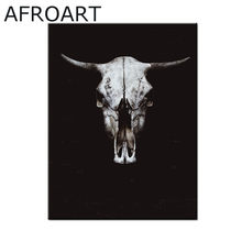 animal poster wall art prints painting Bull skull Frameless printing penguin Canvas Pictures for Living room(China)