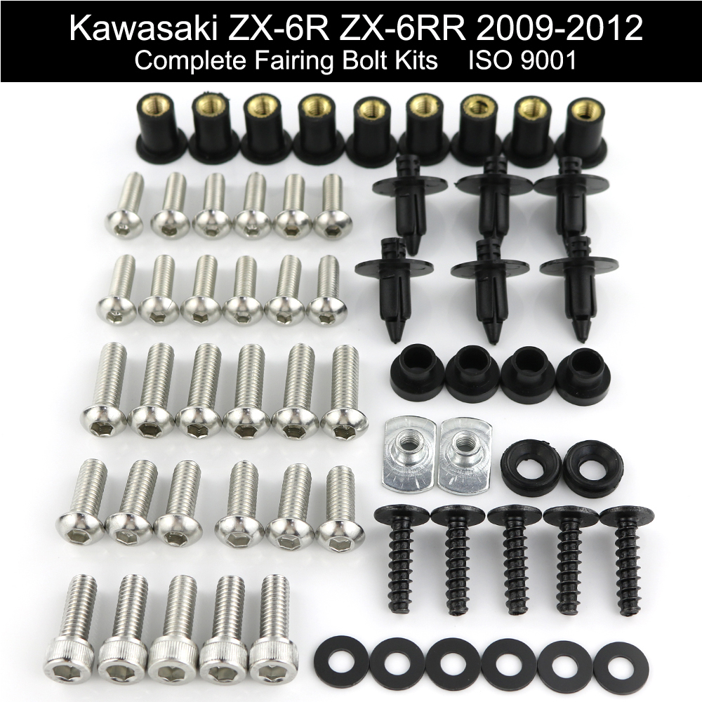 For Kawasaki ZX6R ZX 6R ZX6RR 2009 2010 2011 2012 Complete Full Fairing Bolts Kit Fairing Clips Speed Nuts Stainless Steel in Full Fairing Kits from Automobiles Motorcycles