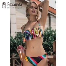 ENXANETA Women's Swimwear 2020 Sexy Bikini Push up Iridescent Tassel Print Style Low Waist Brazilian BeachWear Female Swimsuit(China)