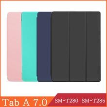 Tablet Case For Samsung Galaxy Tab A A6 7.0 inch 2016 SM-T280 SM-T285 4G WI-FI T280 T285 Soft PU Leather Flip Cover Stand Capa for samsung galaxy tab a 7 0 t280 sm t280 t280n t285 high quality ultra slim silk 3 fold transparent cover stand pu leather case