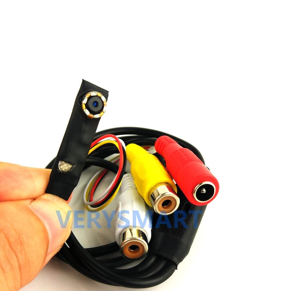 VERYSMART Mini Analog Camera Video Audio Camera CCTV Home Security Surveillance Camera with 6pcs 940nm IR LEDs