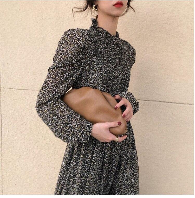 H08c3458c55e54083b12d5f7d1843c4d9R - Autumn Stand Collar Long Sleeves Waist-Controlled Floral Print Maxi Dress