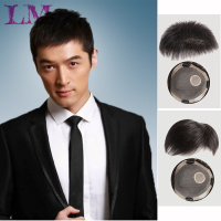 LM Topper Toupee Hairpiece Clip In One Piece Hair Extension Synthetic Hair with Bangs for Men Natural Black Fashion Airpalne