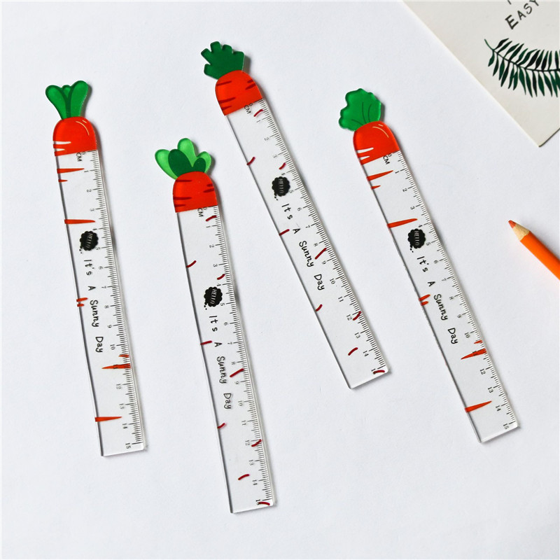 Kawaii Plastic Transparent Ruler Carrot Design Straight Rulers Drawing Measuring Tool Cactus Office School Supplies Stationery