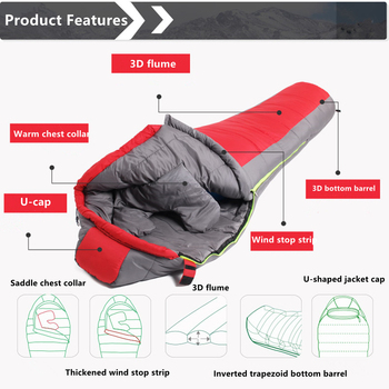 Mummy Sleeping Bag  Cotton Ultralight Outdoor Hiking Climbing Sleeping Bag Splicing Thickened Thermal Heated Sleep Bag in Winter 4