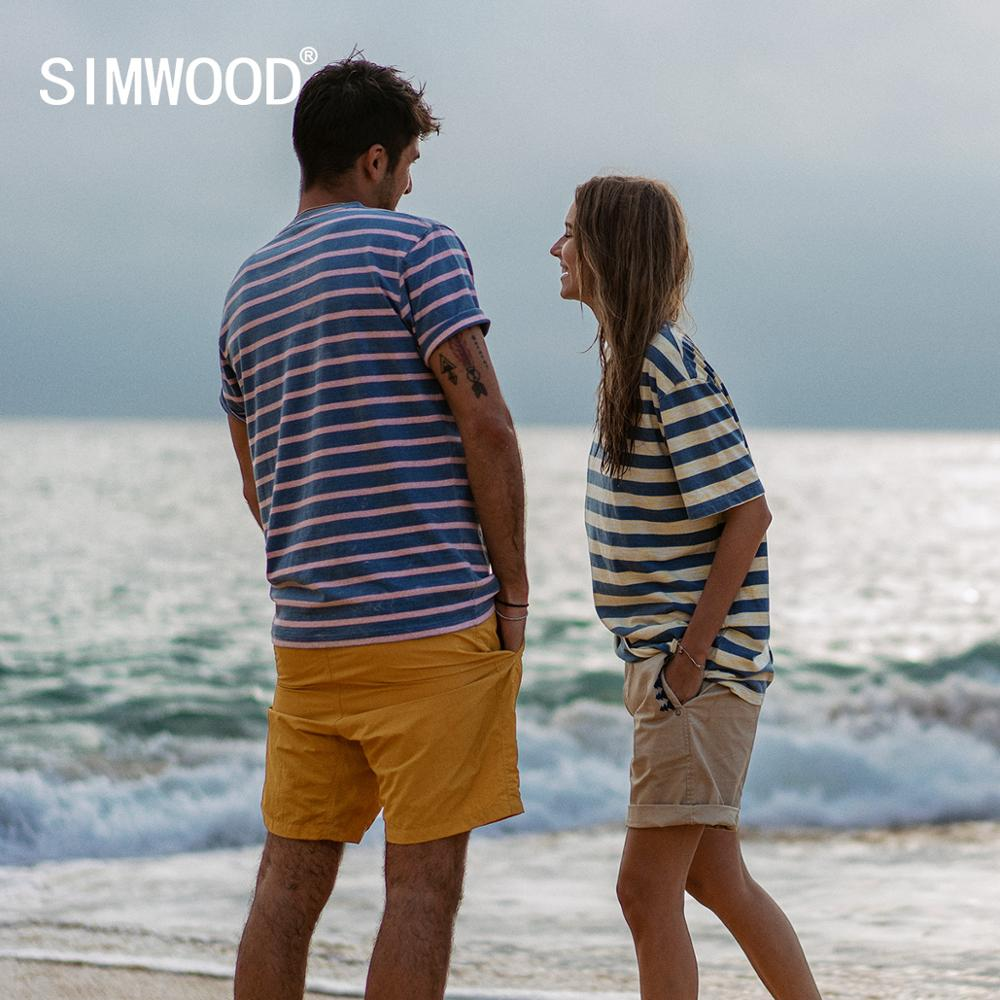 SIMWOOD 2020 Summer New Indigo Washed T-shirts Men Vintage Contrast Striped 100% Cotton Tops Mathing Couples T Shirt SJ130075