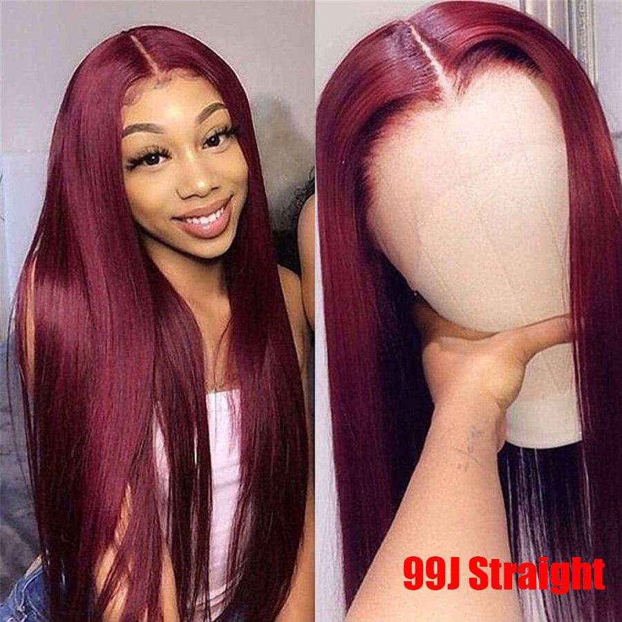 13*6 объемная волна 1b/99J цветные кружевные передние человеческие волосы парики для женщин Омбре Бургундский кружевной передний парик предвар... - 5