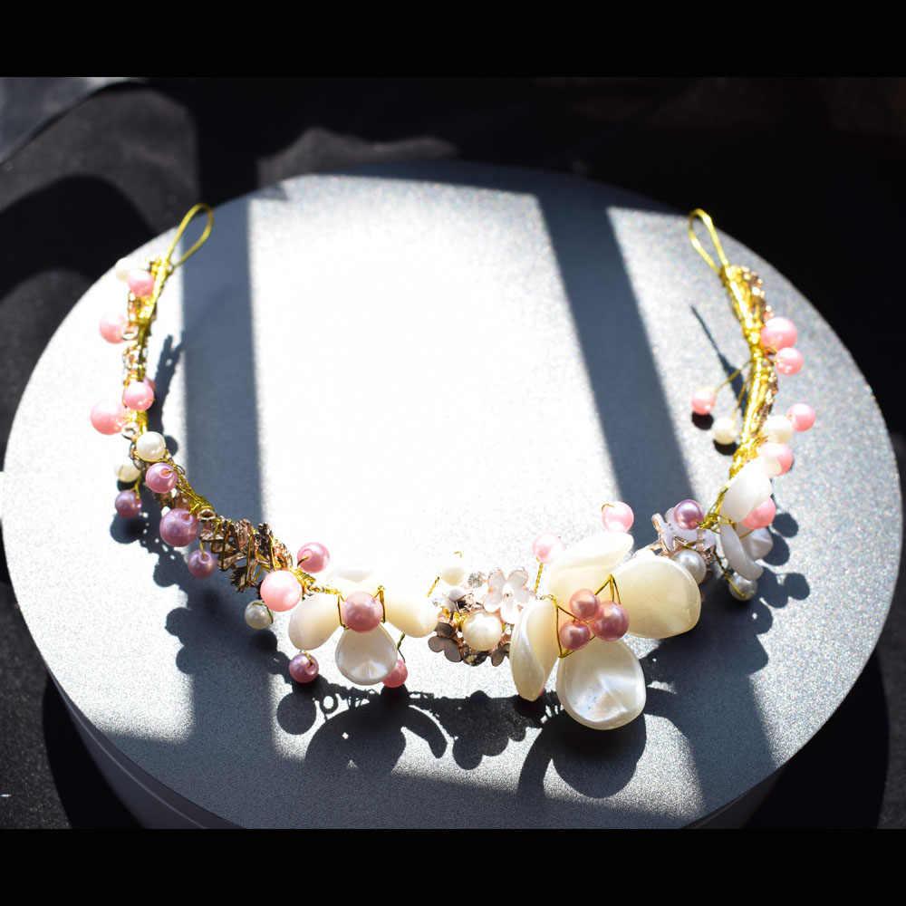 Femme fait à la main tête pièce pour mariage rose blanc perles fleur feuille Deartiara Design casque mariée cheveux accessoires