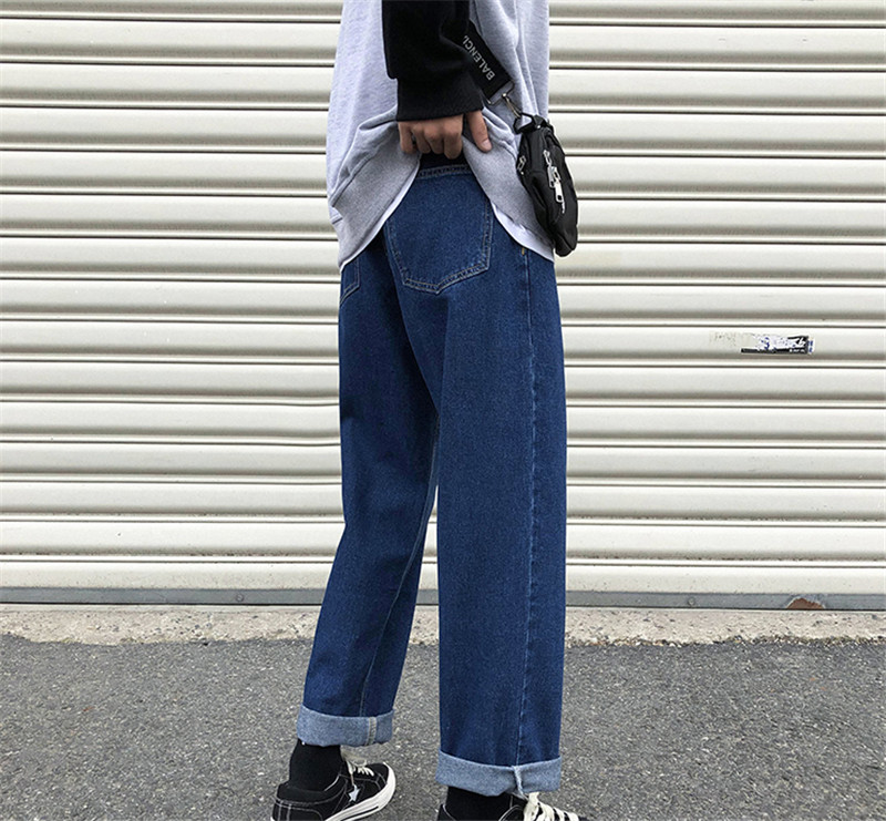 New Men`s Wide Leg Jeans Denim Trousers Casual Loose Male Straight Pants Solid Color Hip Hop Trousers Streetwear Plus Size (12)