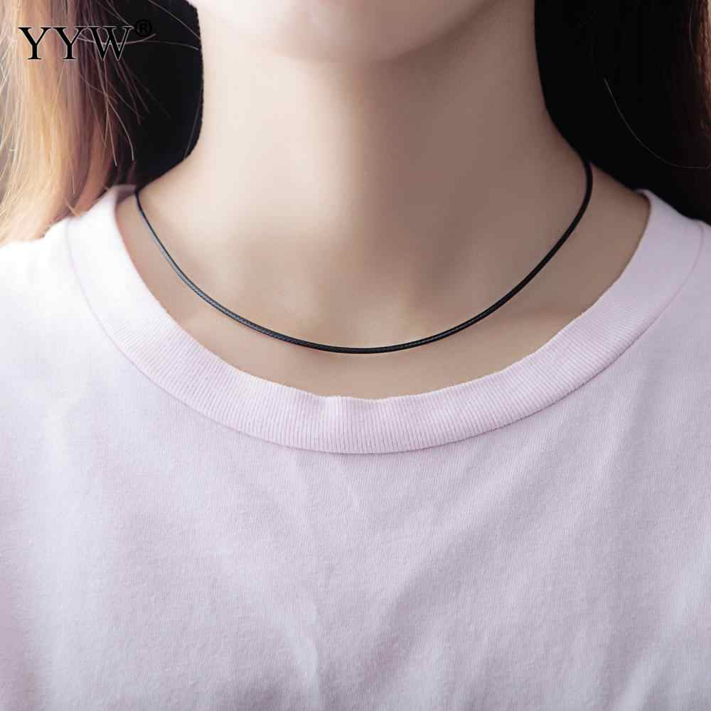 1.5mm 2mm czarny skórzany przewód naszyjnik obrotowe zapięcie dla Diy naszyjniki biżuteria przewód wosk liny koronki łańcuch z stali nierdzewnej 17 Cal