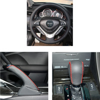 Braid on the steering wheel cover for Honda Spirior 2009 2013 Old Accord Case ppc handbrake cover and gear shift knob cover