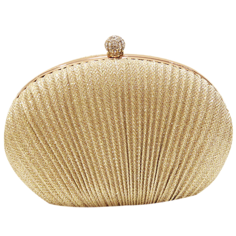 Lady Diamond Evening Clutch Bag Women Wedding Shiny Handbags Bridal Pleated Purse Bags Chain Shoulder Bag(Gold)