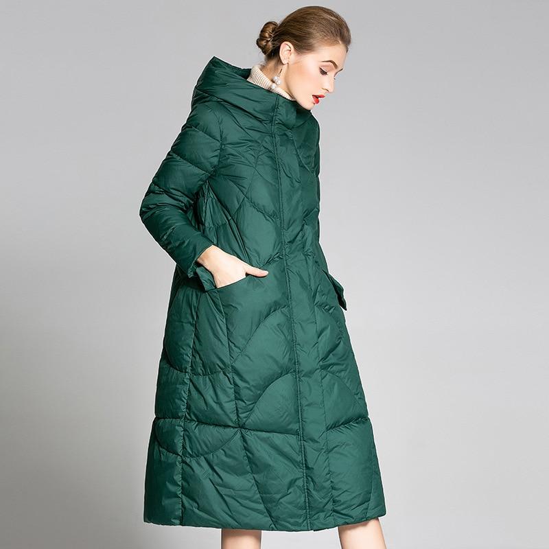 2020 New Women's Down Jacket Winter Coat Korean White Duck Down Jacket Woman Hooded Warm Parka Puffer Jackets 9002 KJ2809
