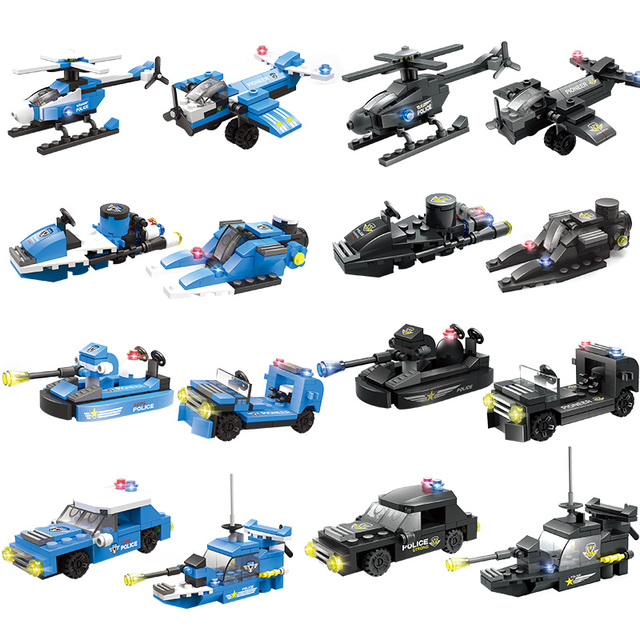 8 in 1 City SWAT Building Blocks Compatible City Police Helicopter Car Boat Vehicle Police Figures Bricks Toys for Boys