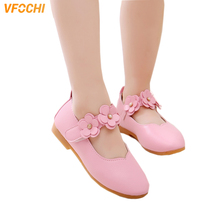 VFOCHI 2019 Girls Leather Shoes for Kids Low Heeled Princess Children Party Wedding Teenager Dress