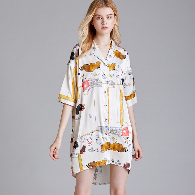 Cartoon Cute Sexy Nightgown Sleepshirt Half Sleeve Printed Casual Sleepwear Turn-down Collar Nightdress Home Dressing Gown